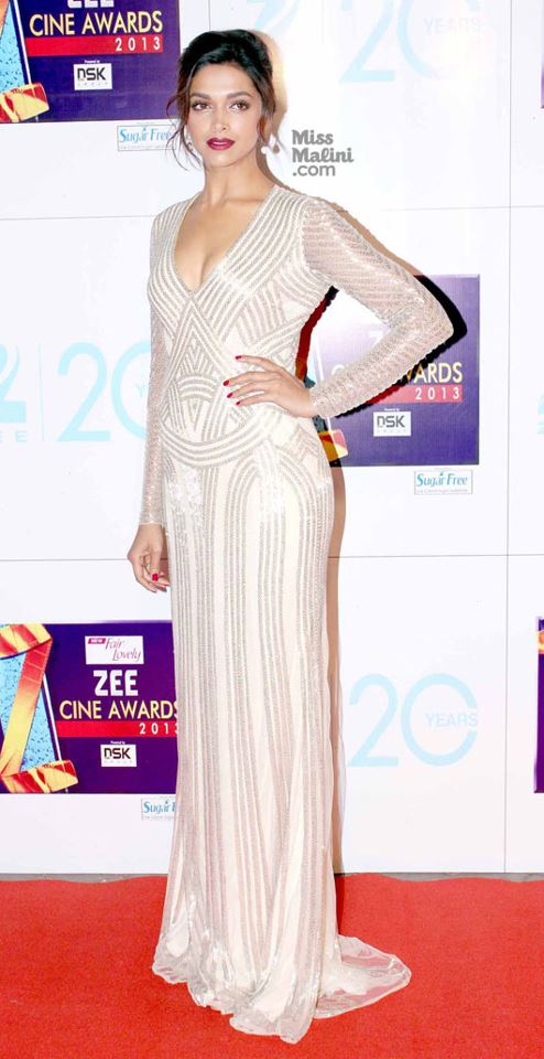 Deepika Padukone in Naeem Khan Resort 2013 at Zee Cine Awards 2013