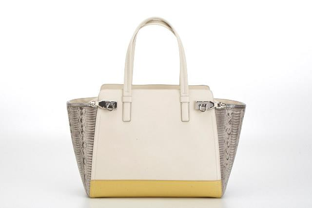 Gancio Zip in cream leather and python
