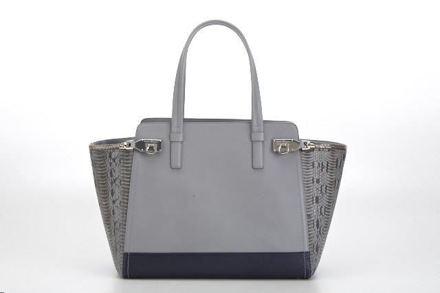 Gancio Zip in light blue leather and python
