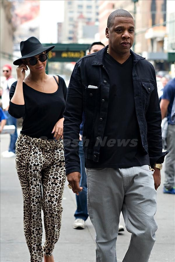 Beyonc�© Knowles and Jay-Z seen arriving at the New York Knicks basketball game in Madison Square Garden in NYC