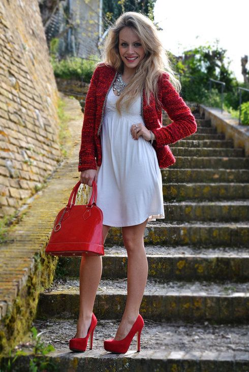 Red dress jean jacket zara