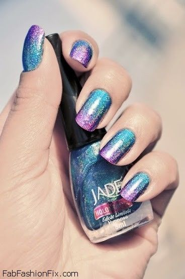 Blue and violet nails