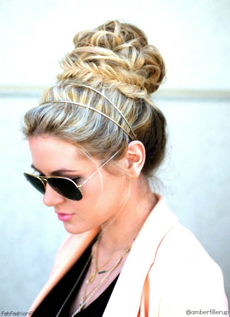 Fishtail bun with headband