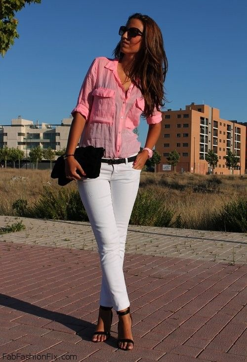 Style Watch How Fashion Bloggers Wear White Jeans This