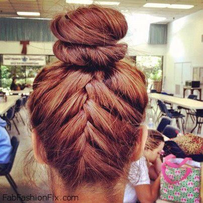 Hair Upside Down French Braid Bun Hairstyle Tutorial Fab