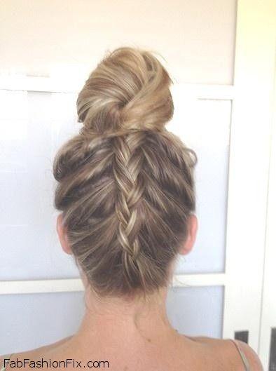 hair upside down french braid bun hairstyle tutorial