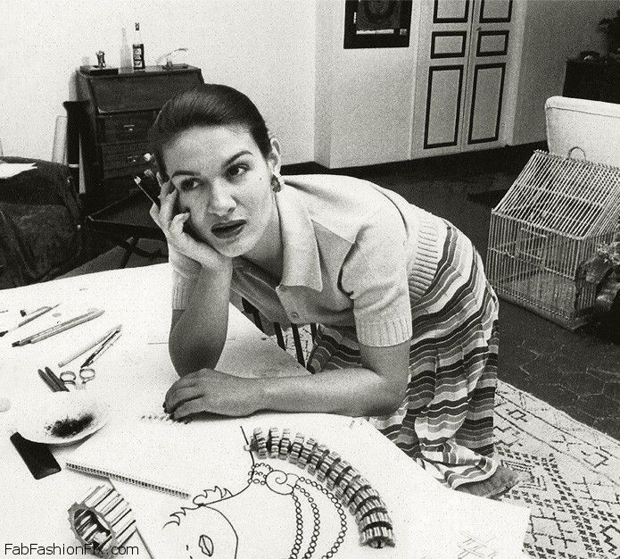 Paloma Picasso sketching jewelry in Paris in the 1970s.