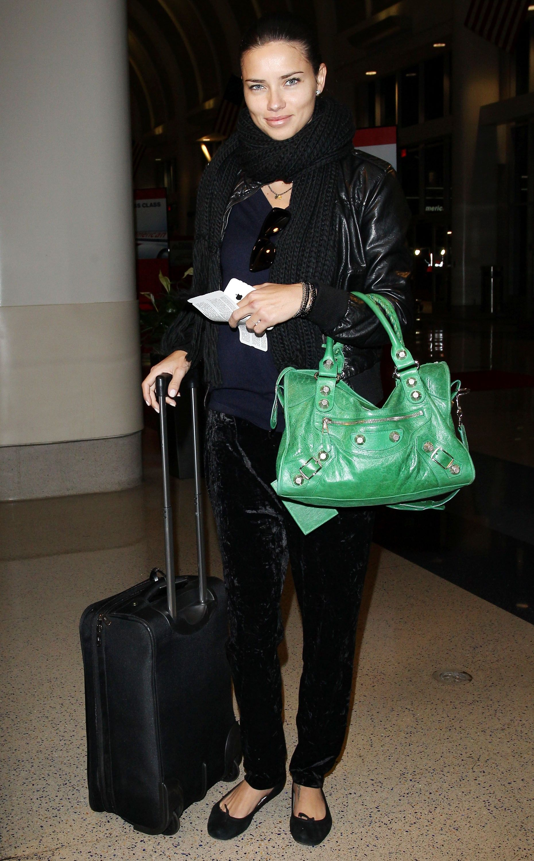 Adriana Lima arrives at the Los Angeles International Airport