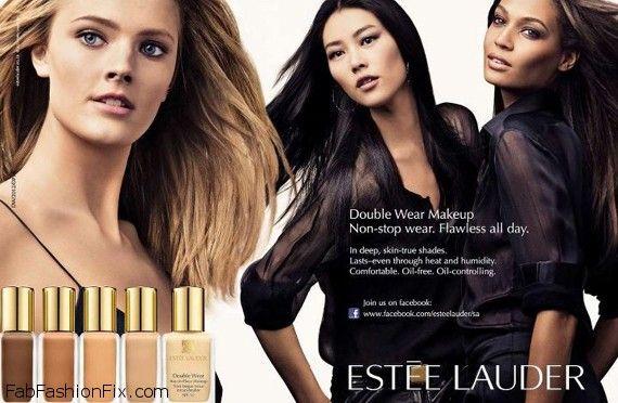 Liu Wen ,Joan Smalls & Constance Jablonski – Estee Lauder Double Wear Makeup