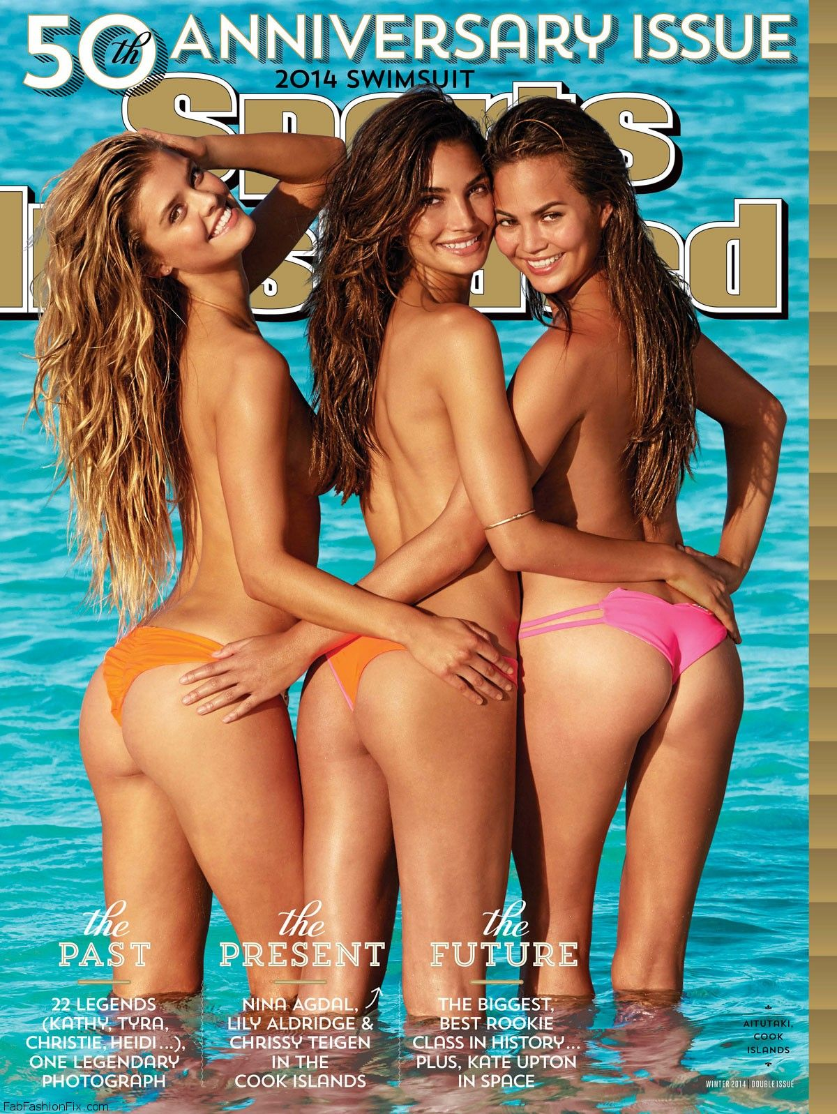 Swimsuit: 2014 Issue: Cook Islands Group - Lily Aldridge, Nina Agdal, Chrissy Teigen Beach/Rarotonga, Cook Islands, New Zealand