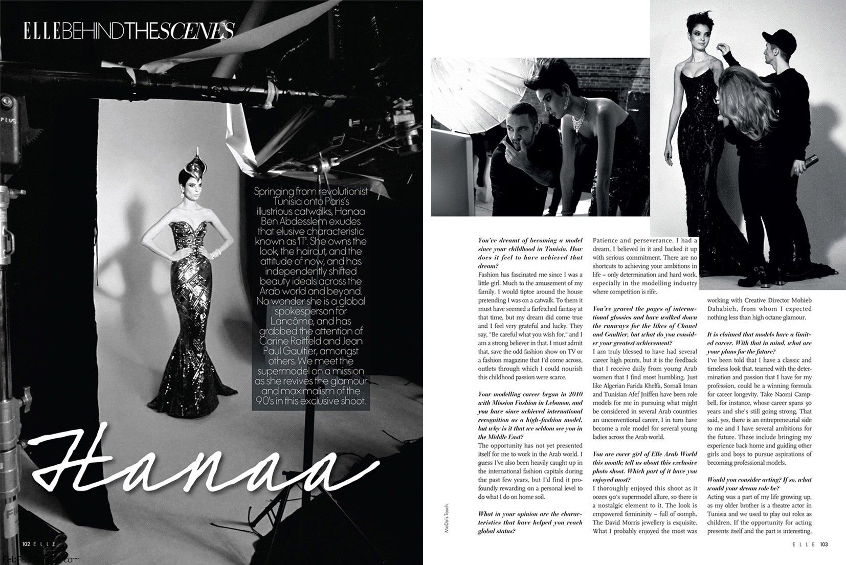 ELLE ARAB WORLD Behind-the-Scenes with Hanaa (p102 & p103)