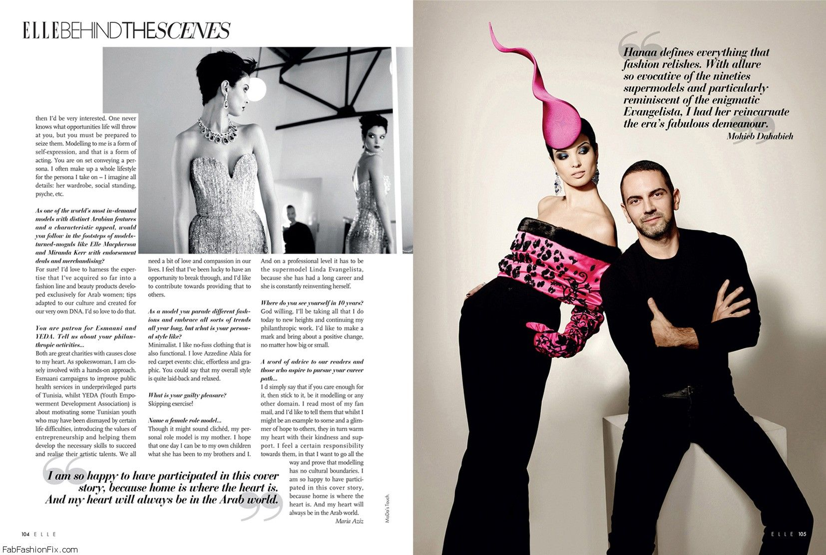 ELLE ARAB WORLD Behind-the-Scenes with Hanaa (p104 & p105)