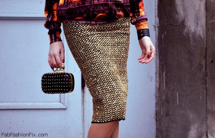 reserved spódnica złota