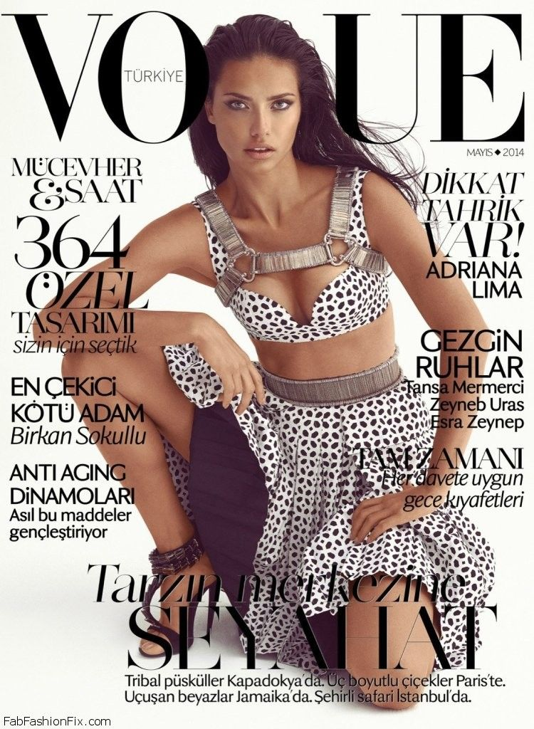 Adriana lima wears balmain on vogue turkey may 2014 cover fab