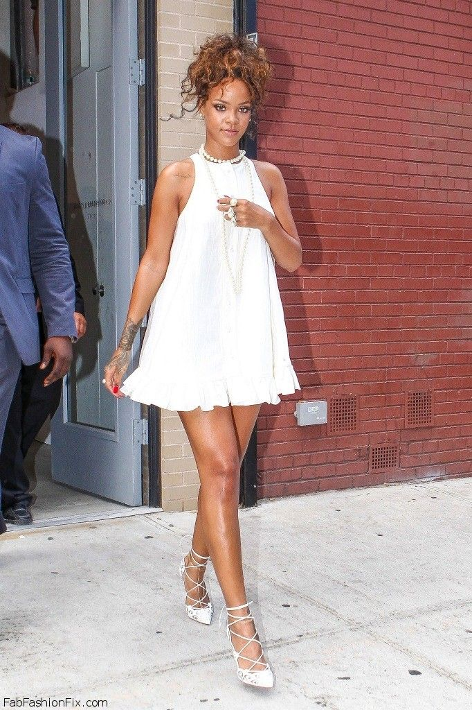 Rihanna White Mini Dress
