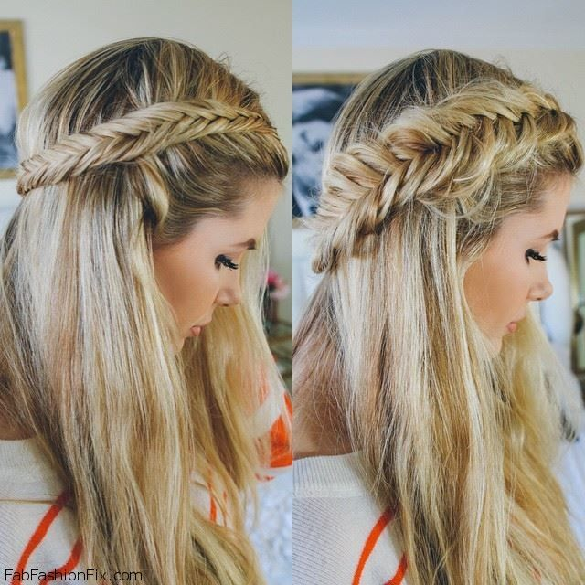 Pulled apart dutch fishtail braid hairstyle tutorial fab for Fish tail hair
