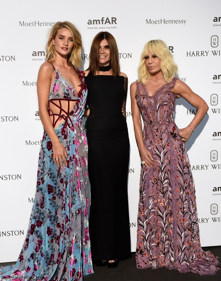 British model and actress Rosie Huntington-Whiteley (L), Italian fashion designer Donatella Versace (R) and French stylist Carine Roitfeld pose prior to the Amfar dinner on the sidelines of the Paris fashion week on July 5, 2015 in Paris.    AFP PHOTO / LOIC VENANCE