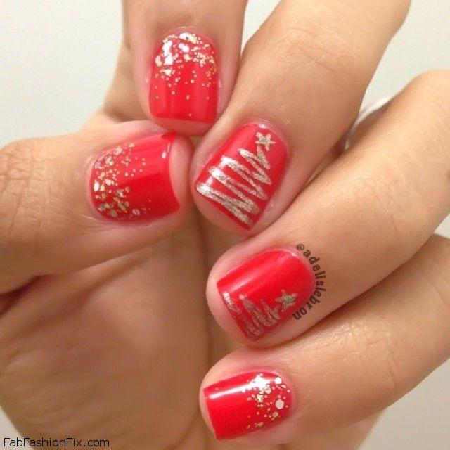 Новогодние ногти на короткие ногти дизайн