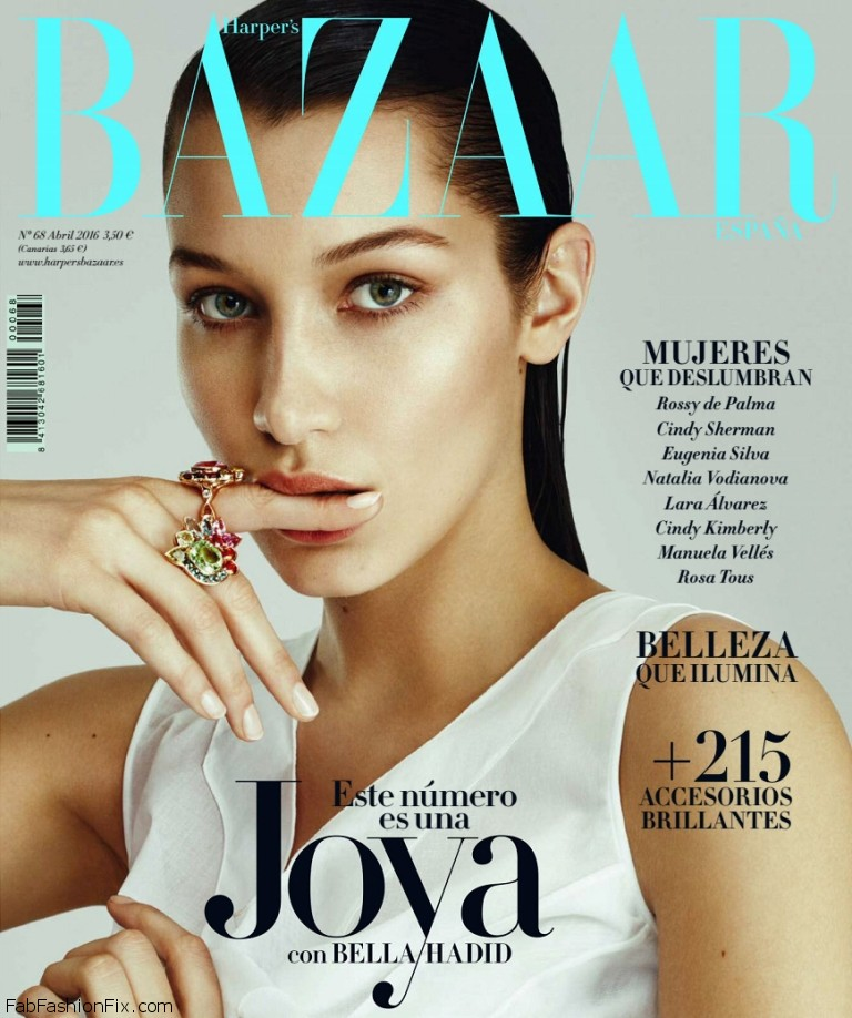 Bella Hadid stuns on the cover of Harper's Bazaar Spain April 2016