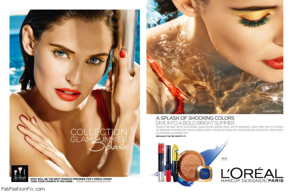 Bianca Balti for L'Oreal Paris Glam Summer Splash Makeup Campaign. Photo: Bellazon
