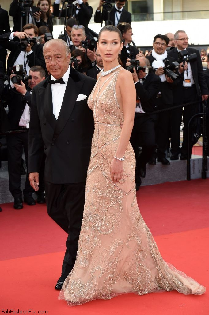 "Fawaz Gruosi and model Bella Hadid walked the red carpet together at the ""Cafe Society"" Premiere and Opening ceremony at the 69th Cannes Film Festival."