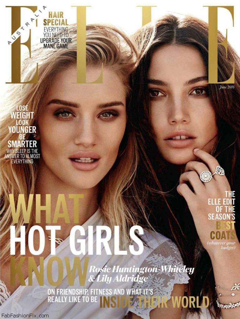 Lily Aldridge & Rosie Huntington-Whiteley grace the cover of Elle Australia June 2016