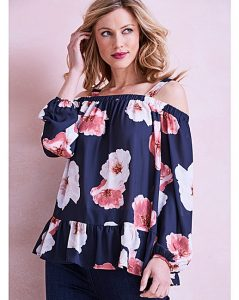 floral cold shoulder top with frill hem