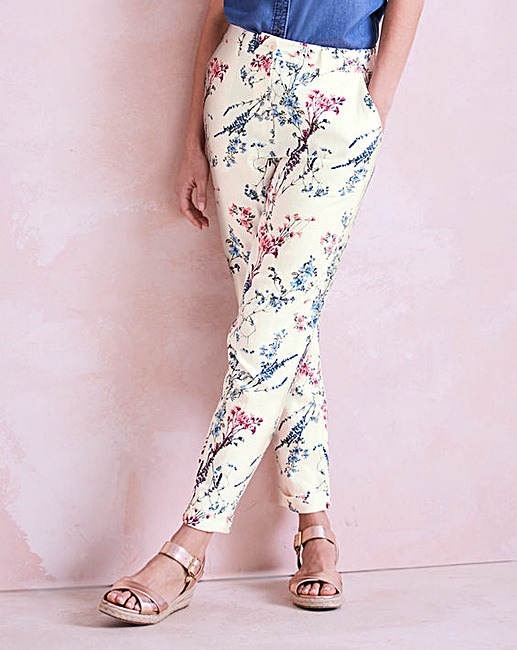 floral print linen mix tapered leg trousers