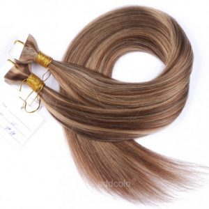 Tape In Hair Extensions Russian Hair #27/#6 Highlight Color