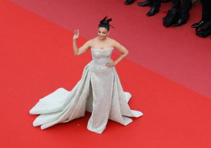 """Aishwarya Rai attends the screening of """"Sink Or Swim (Le Grand Bain)"""" during the 71st annual Cannes Film Festival at Palais des Festivals on May 13, 2018 in Cannes, France. The 44-year-old Bollywood actress opted for Rami Kadi couture for her second red carpet appearance at the ongoing Cannes Film Festival."""